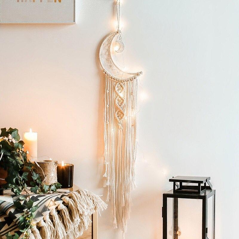 Moon Star Big Dream Catchers Metal Ring Owl Pendant Handmade Nordic Wind Chimes Home Styling Dreamcatcher Ornament  Decor