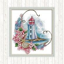 Cross-stitch Fabric Starfish Lighthouse Aida Cloth Printed Canvas DIY Hand Crafts 14ct 11ct DMC Counted Cross Stitch Needlework