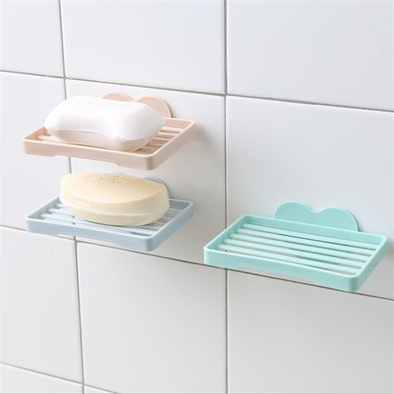 HOT 1 Pc Sweetheart Shape Punch-free Bathroom Shower Soap Box Dish Storage Plate Tray Holder Case Soap Holder Wall Hanging Rack