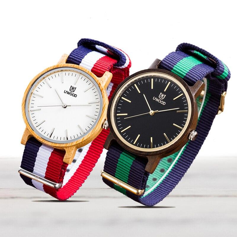 UWOOD Men Wooden Quartz Watch Casual Nylon Watch Band Wristwatch for Men