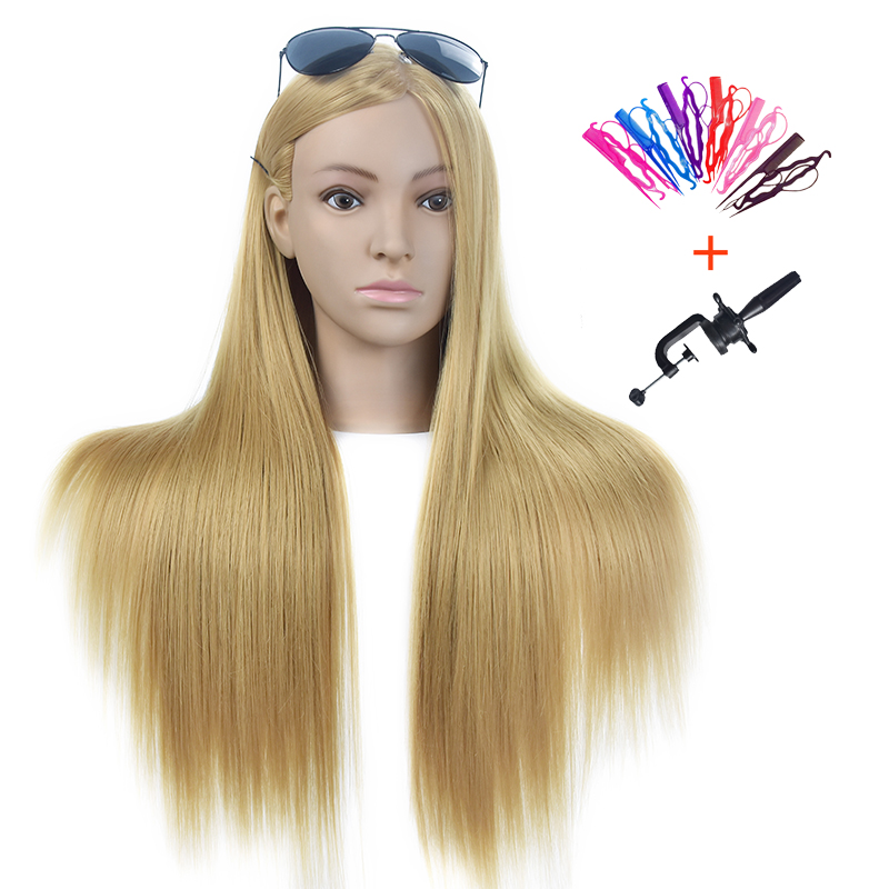 "26"" 100% High Temperature Fiber Long Hair Hairdressing Training Head Model with Clamp Stand Practice Salon Mannequin Head Dummy"
