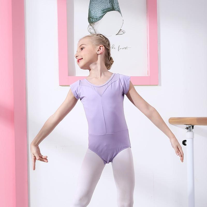 Детская танцевальная балетная Одежда для девочек; балетная юбка для осмотра; кружевная юбка с длинными рукавами; плотная разноцветная балетная одежда для латиноамериканских танцев - Цвет: purple short sleeve