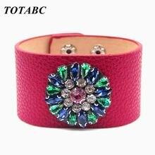 Totabc кожаный браслет со стразами ювелирные изделия ручной