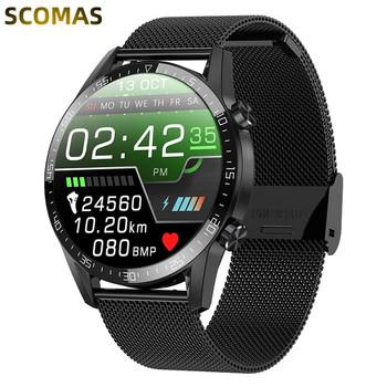 Inteligentny zegarek mężczyźni Bluetooth zadzwoń IP68 wodoodporny Smartwatch Monitor temperatury ekg PPG BP tętno sport inteligentna opaska tanie i dobre opinie SCOMAS CN (pochodzenie) Android Dla systemu iOS Na nadgarstek Zgodna ze wszystkimi 128 MB Krokomierz Rejestrator aktywności fizycznej