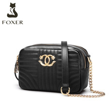 FOXER Split Leather Lady Fashion Shoulder Bag Casual Women Classic Brand Bag Large Capacity Female Cross body Bags Small Purse