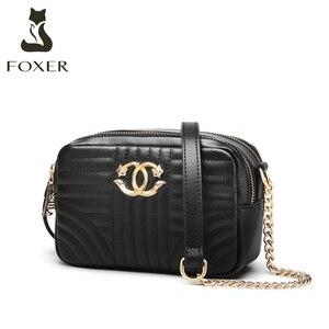 Image 1 - Foxerスプリットレザー女性ファッションショルダーバッグカジュアル女性クラシックブランドバッグ大容量女性のクロスボディバッグ小財布