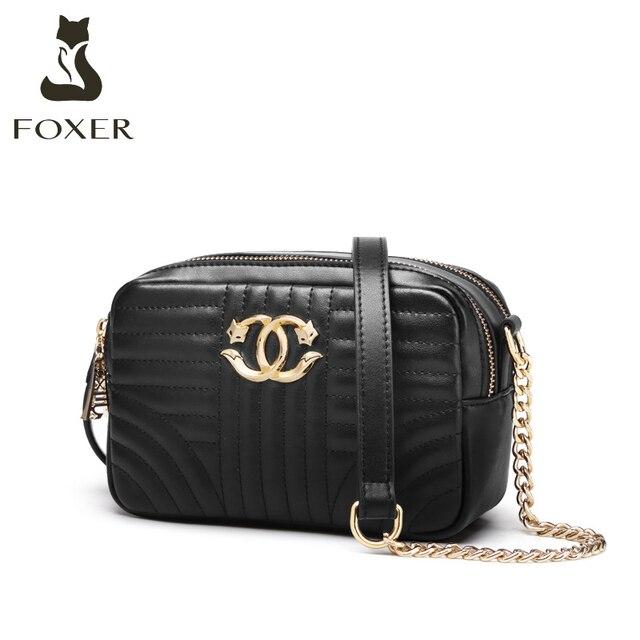 Foxerスプリットレザー女性ファッションショルダーバッグカジュアル女性クラシックブランドバッグ大容量女性のクロスボディバッグ小財布
