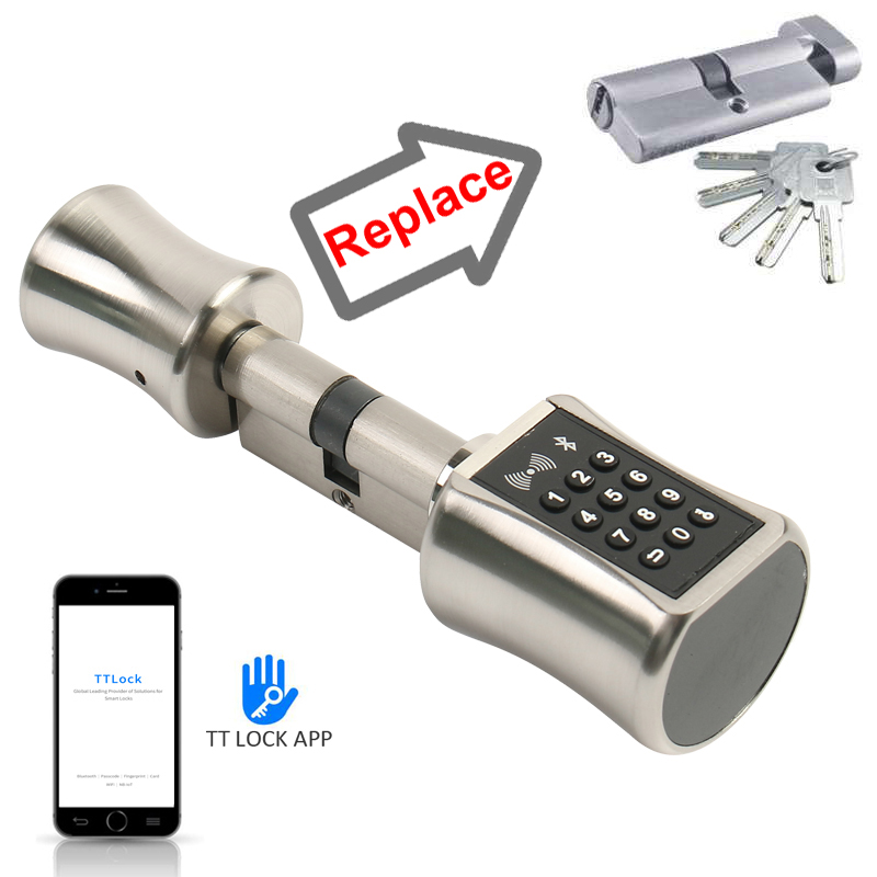Smart Cylinder Lock TT Lock APP Bluetooth 13.56mhz IC Card Digital Unlock Easy Replace Original Cylinder Lock Become Smart