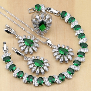 Image 1 - 925 Silver Jewelry Green Cubic Zirconia White Crystal Jewelry Sets For Women Earrings/Pendant/Necklace/Rings/Bracelet