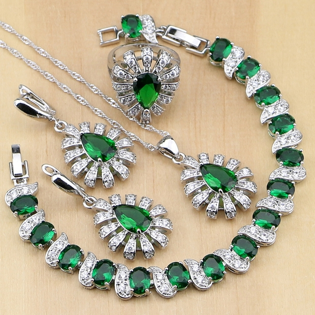 925 Silver Jewelry Green Cubic Zirconia White Crystal Jewelry Sets For Women Earrings/Pendant/Necklace/Rings/Bracelet