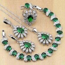 925 bijoux en argent vert zircon cubique cristal blanc ensembles de bijoux pour femmes boucles doreilles/pendentif/collier/anneaux/Bracelet