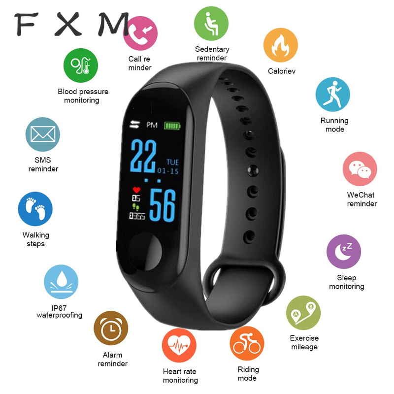 FXM Watches Manly Digital Watch Women Heart Rate Monitor Blood Pressure Fitnes Tracker Sport Smart Men Watch Clock IOS Android