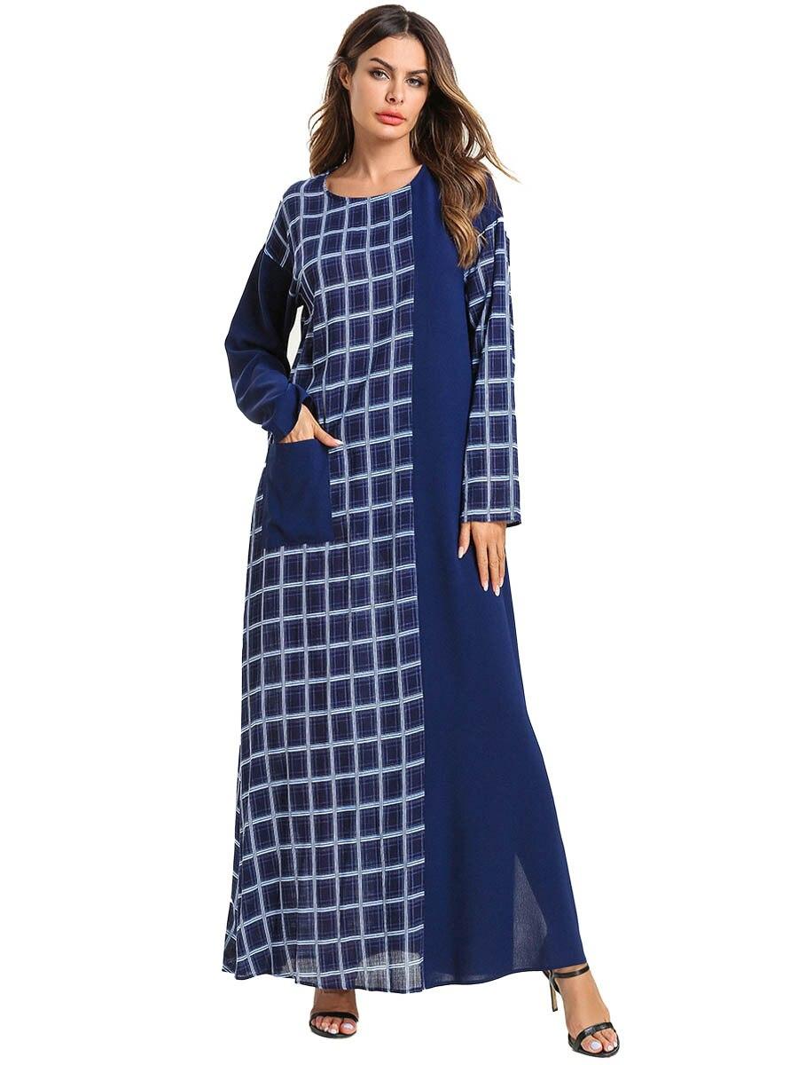 2020 New Muslim Maxi Dress Women Stripe Pocket Spring Summer Long Sleeves Big Swing Hijab Dresses Turkey Kimono Islamic Clothes