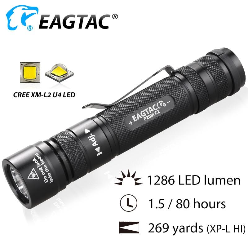EAGTAC P200LC2 XML2 1286lm LED Flashlight 18650 CR23A Battery Nichia 219C 4000K 365NM UV LED XPL HI Long Through Hunting Torch