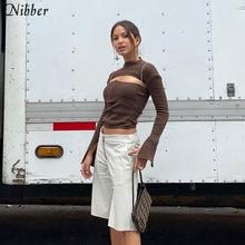 Nibber-camisetas entalladas de punto caladas para mujer, blusas informales de calle alta, camisetas simples de manga larga para mujer 2019