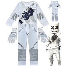 Kids Children Game Marshmello Skin Cosplay Costume Zentai Bodysuit Suit Jumpsuits Halloween Mask