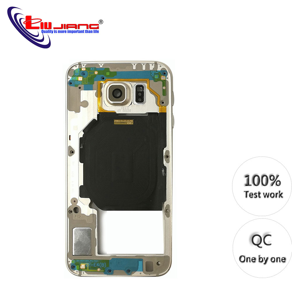 Original Middle Frame For <font><b>Samsung</b></font> <font><b>S6</b></font> G920 <font><b>S6</b></font> G920F G920A G920T Bezel Housing Chassis with Back <font><b>Camera</b></font> <font><b>Glass</b></font> Lens Cover image