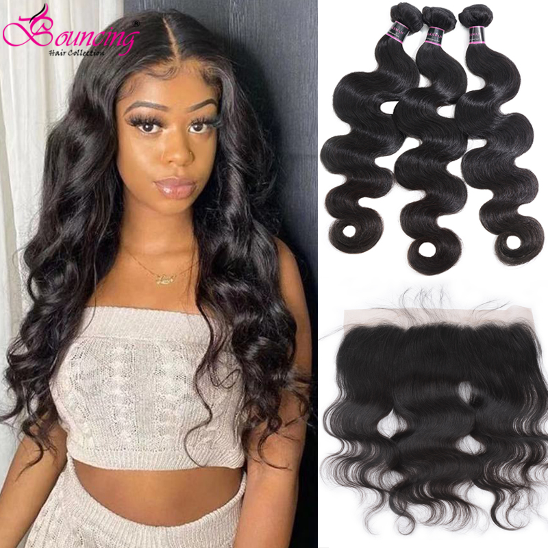 Bouncing Body Wave Bundles With Closure Brazilian Human Hair Weave Bundles With Frontal Natural Color Hair Bundles With Frontal
