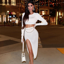 WannaThis Women 2 Pieces Set Solid Crop Top and Knee-Length Skirt Sexy Elastic Ribbed Knitted Long Sleeve Fashion Streetwear