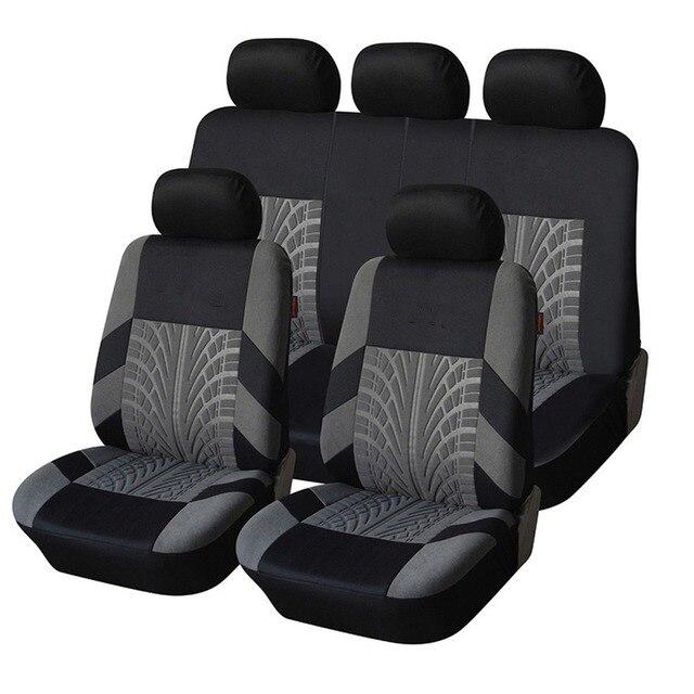 רקמה אוניברסלית רכב מושב מכסה סט Fit ביותר מכוניות מכסה עם צמיג מסלול פירוט סטיילינג רכב מושב מגן אביזרי רכב