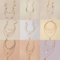 Tocona bohème lune pendentif collier pour femmes couleur or multicouche brillant strass perle fête bijoux accessoires collier