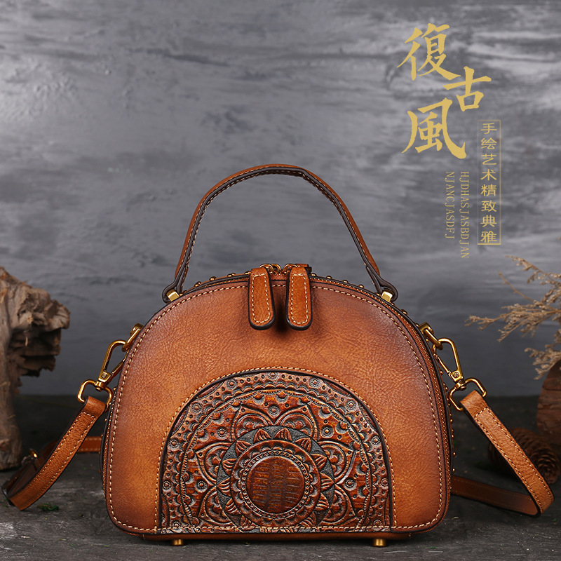 2020 Luxury Women Genuine Leather Handbags Ladies Retro Elegant Shoulder Messenger Bag Cow Leather Handmade Womans Bags