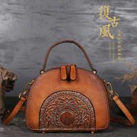 2020 Luxury Women Genuine Leather Handbags Ladies Retro Elegant Shoulder Messenger Bag Cow Leather Handmade Womans Bags