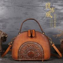 2020 Luxury Women Genuine Leather Handbags Ladies Retro Elegant Shoulder Messeng