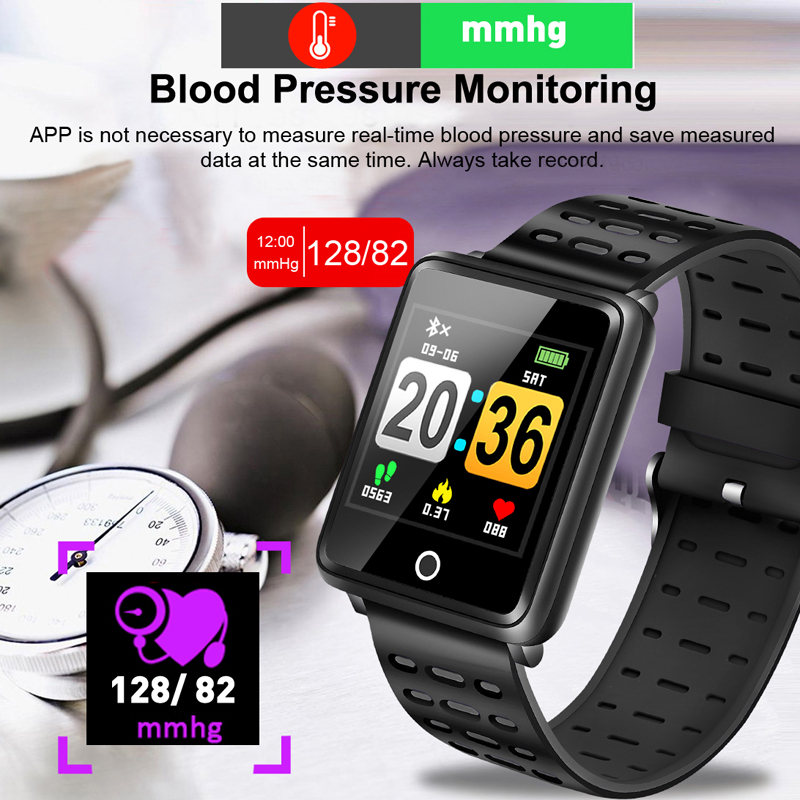 New 2019 New Men Women Smart Sport Watch Fitness Tracker Pedometer Blood Pressure Heart Rate Blood oxy Monitor Smart Band Box in Digital Watches from Watches