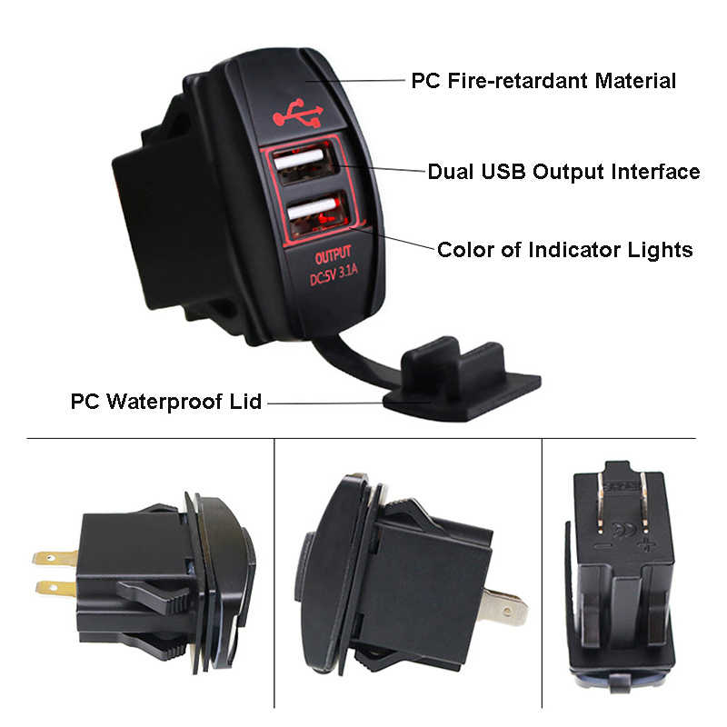 12-24V รถ USB Charger กันน้ำ 3.1A Dual USB Power Socket Outlet สำหรับรถจักรยานยนต์รถ ATV เรือบุหรี่อะแดปเตอร์ไฟแช็ก D5