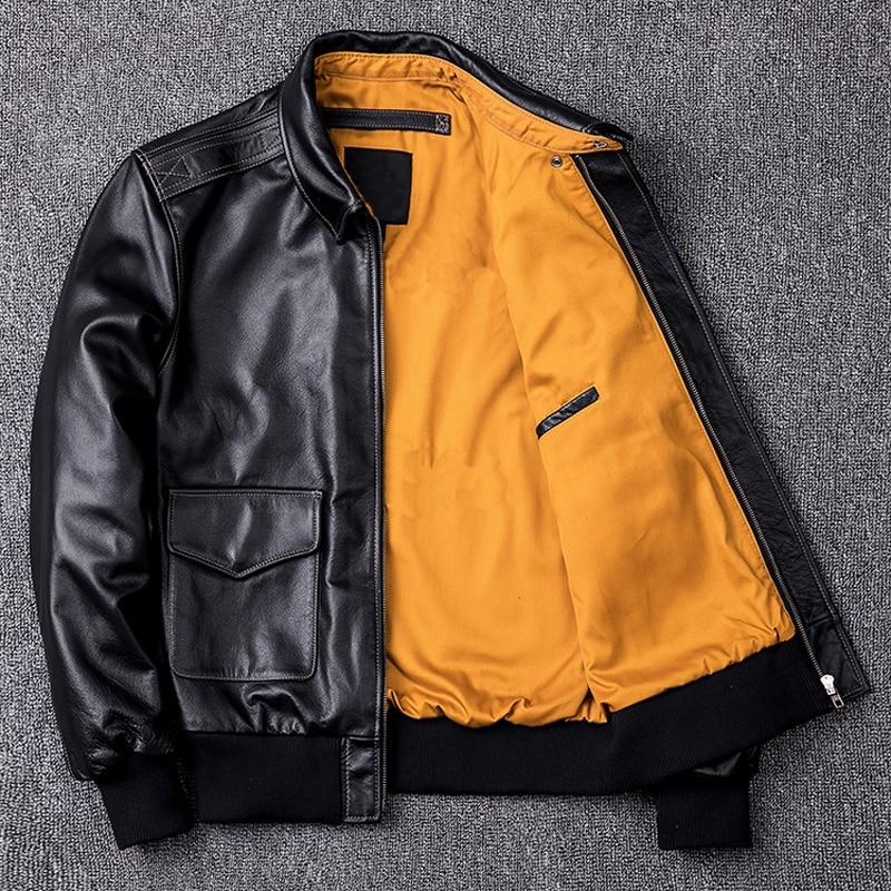 H6585d1f6dae14605aba151d362ef8c17D MAPLESTEED Men Leather Jacket Military Pilot Jackets Air Force Flight A2 Jacket Black Brown 100% Calf Skin Coat Autumn 4XL M154