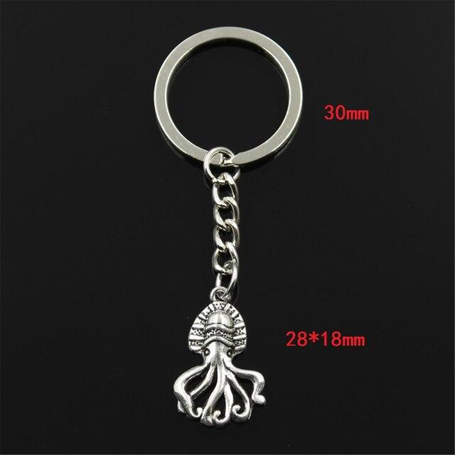 Mode Keychain 28x18mm Ozean Octopus Silber Farbe Anhänger DIY Männer Schmuck Auto Schlüssel Kette Ring Halter Souvenir für Geschenk