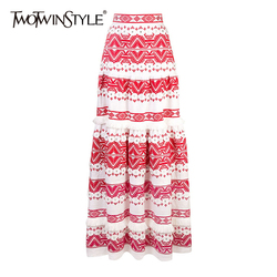 TWOTWINSTYEL, винтажная юбка с кисточками для женщин, высокая талия, принт, кнопка, пэтчворк, макси юбки для женщин, 2020, модная летняя Новинка