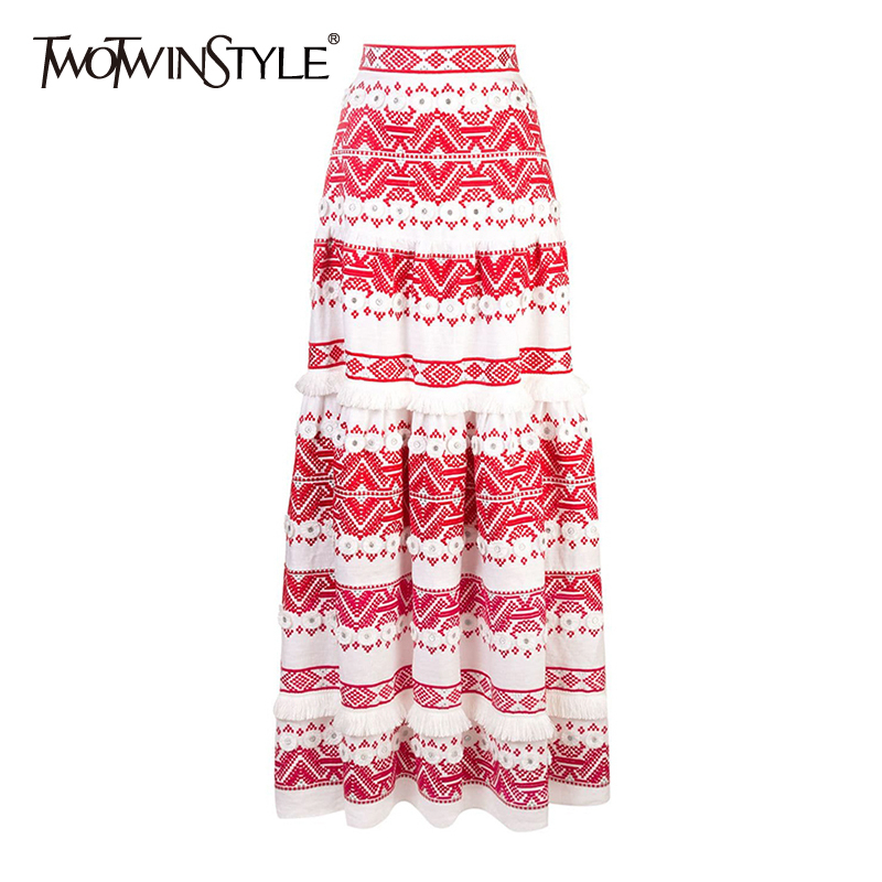 TWOTWINSTYEL Vintage Tassel Skirt For Women High Waist Print Button Patchwork Maxi Skirts Female 2020 Fashion Summer New