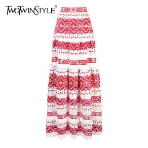 Image 1 - Женская юбка с кисточками TWOTWINSTYEL, винтажная Макси юбка с высокой талией, принтом и пуговицами на лето 2020