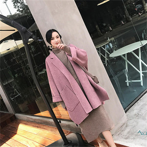 Image 4 - 2019 nouveau automne et hiver laine veste femmes en vrac coréen cachemire manteau mi long laine manteau femme NS1449