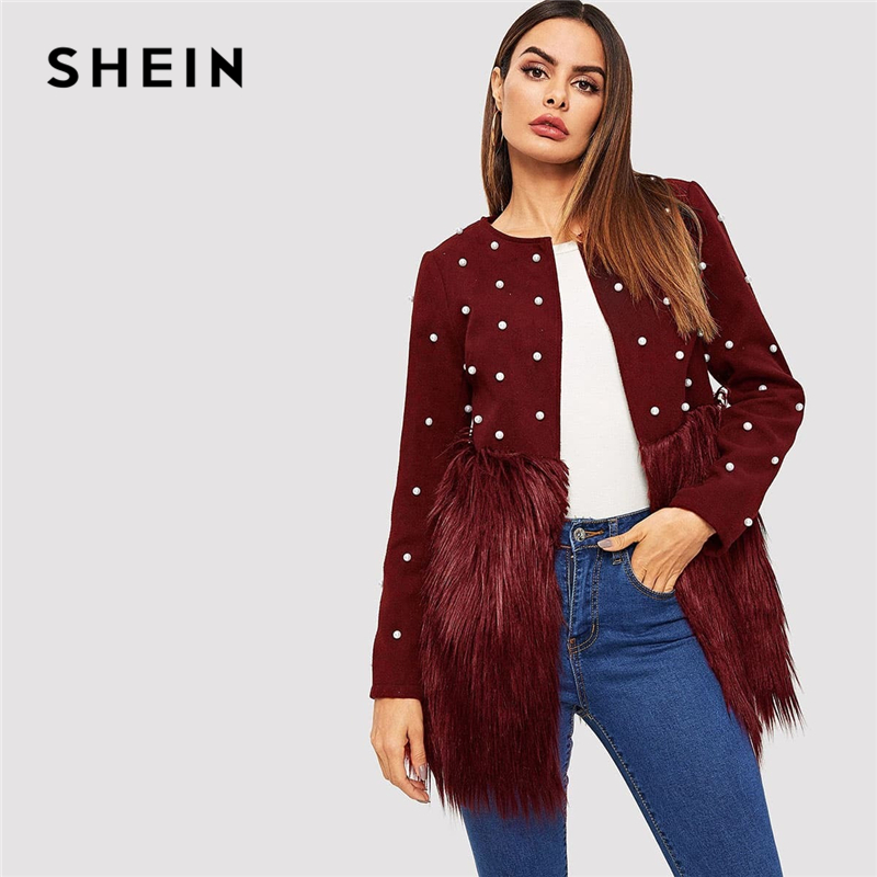SHEIN Office Lady Solid Pearl Embellished Faux Fur Round Neck Jacket Autumn Workwear Casual Women Coat And Outerwear 8
