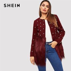 Image 5 - SHEIN Контрастное Пальто С Бусинами И Эко Мехом Стильное Пальто