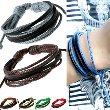 2019 Hot Sale Women Men Multilayer Woven Rope Chain Bracelet Bangle Black Genuine Leather Simple Comfortable Bracelet Jewelry