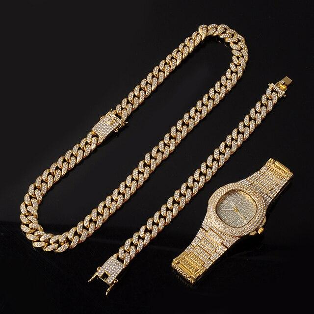 Collar de oro, reloj y pulsera, cadena cubana de Miami Curb, diamantes de imitación incrustados, joyería CZ para hombres 3