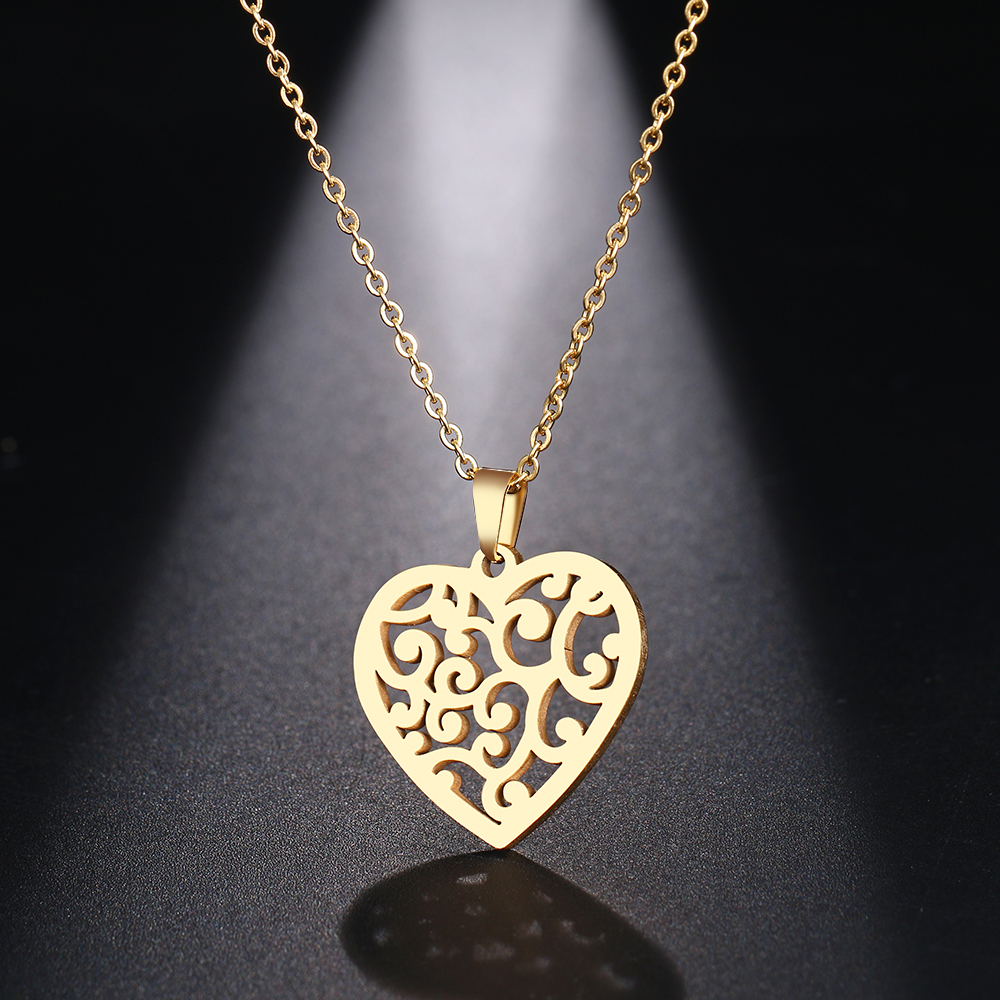 DOTIFI Stainless Steel Necklace For Women Man Floral Heart Choker Pendant Original Necklace Engagement Jewelry