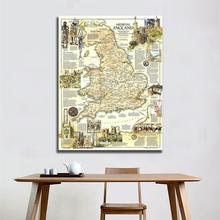 A2 Size Fine Canvas Vinyl Painting HD Printed Wall Art Map of Medieval England Roll Packaged Crease-free