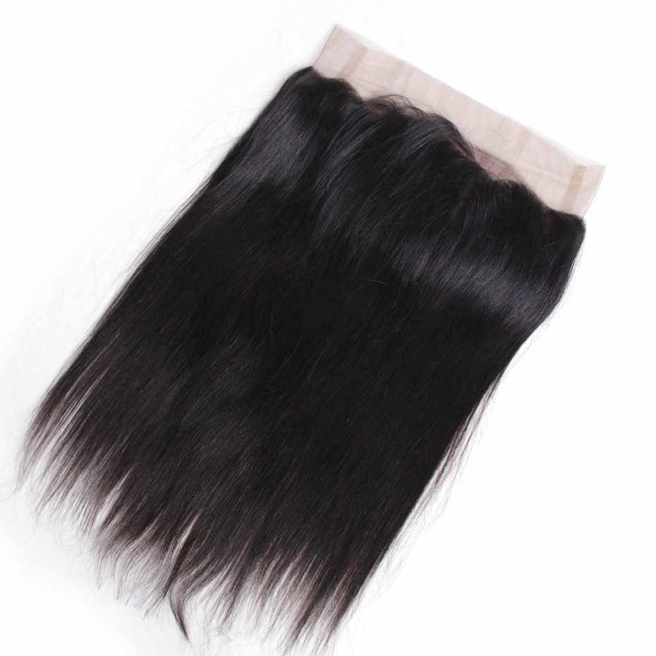 Bling Rambut Brasil Rambut Lurus 360 Renda Frontal Penutupan dengan Bayi Rambut Digunakan Pluked 100% Remy Rambut Manusia Penutupan warna Alami