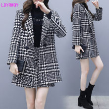 2019 autumn and winter new Korean women's fashion houndstooth lapel long-sleeved button woolen coat skirt two-piece suit(China)