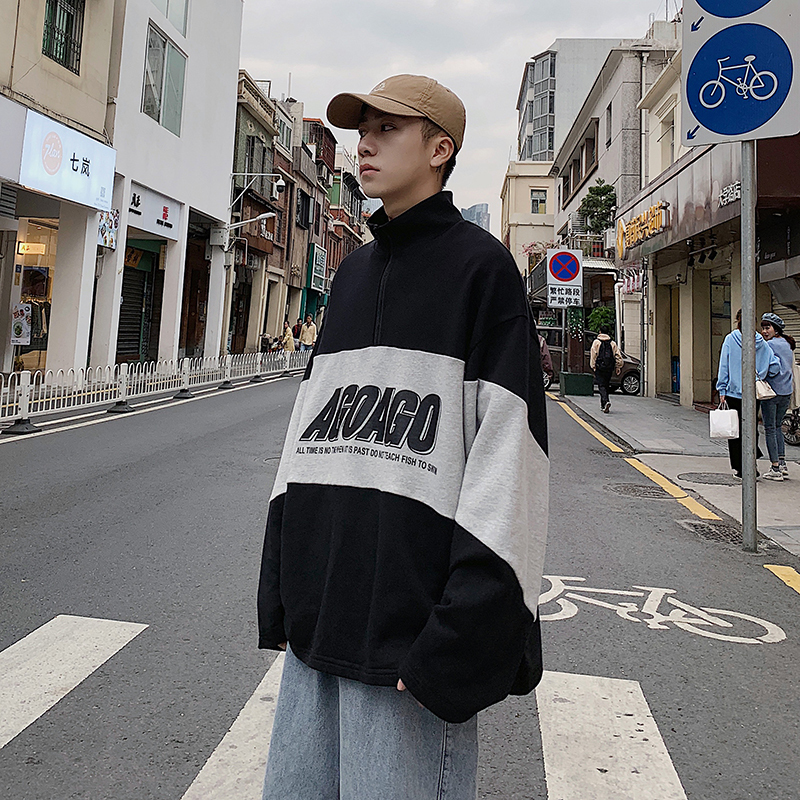 Mens Spring New Stand Collar Pullover Sweater Men Clothes Loose Student Color Matching Coat Men's Trend Sweaters Free Shipping