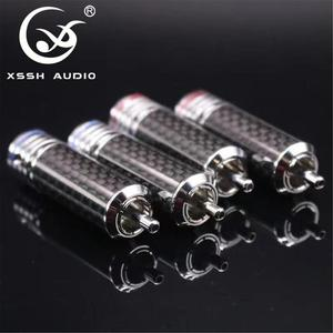 Image 3 - 4pcs/8pcs/16pcs XSSH audio RCA DIY HIFI carbon fiber RCA plug 10mm coaxial digital Audio signal cable plug jack connector