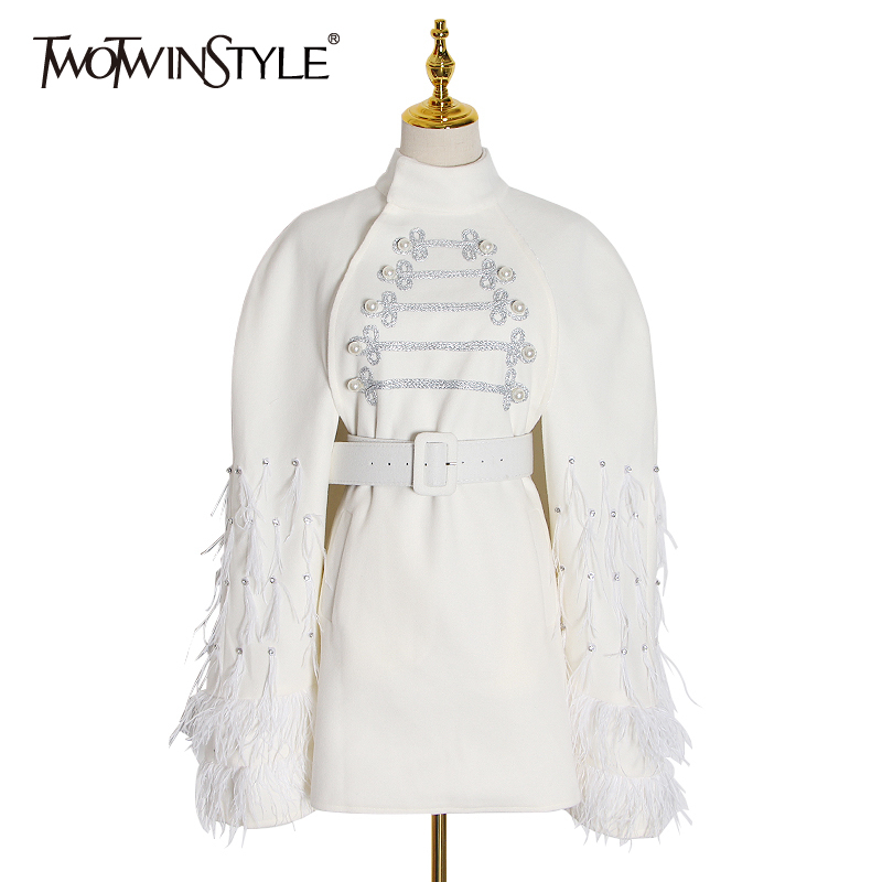 TWOTWINSTYLE Patchwork Feathers Diamond Coat For Women Turtleneck Cloak Sleeve High Waist With Sashes Female Jacket 2020 Fashion