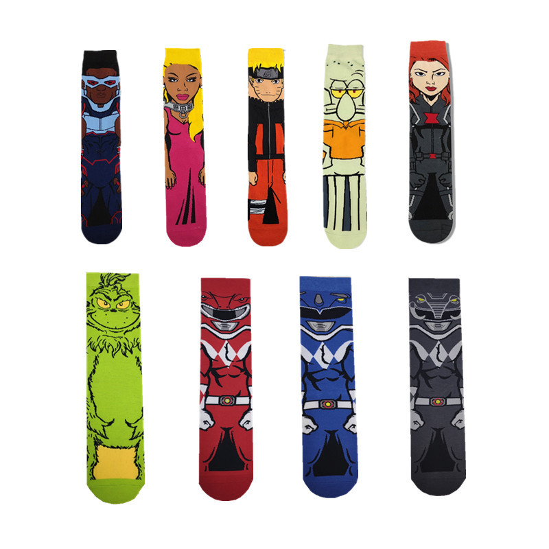 Colorful Marvel Comic Cartoon Long Socks Movie Cosplay Fashion Japan Anime Sock Novelty Funny Casual Men Socks носки