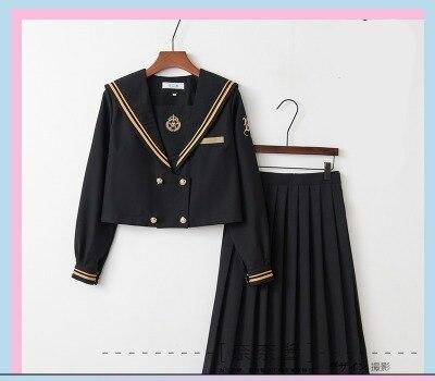 Однобортная школьная форма Jk; милый повседневный костюм моряка для девочек; Jpanese Kawaii; изысканный элегантный костюм с вышивкой и бантом - Цвет: long long