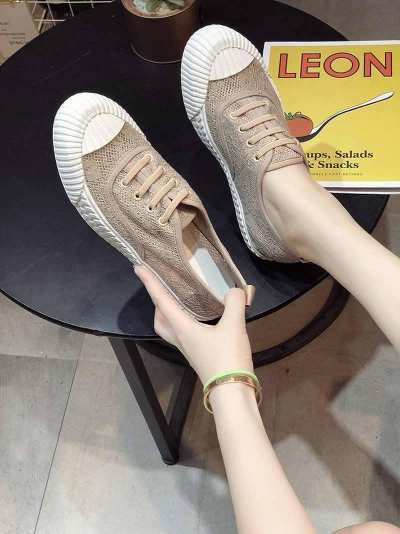 Kadın Ayakkabı Bayanlar Rahat tek ayakkabı Nefes Dantel Düşük Sonbahar Bisküvi Ayakkabı Kadın Flats loafer ayakkabılar Rahat Katır